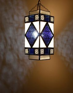 Iron Ceiling Lamp with Frosted and Blue Glass Ceiling Lamp, Ceiling Lights, Moroccan Room, Moroccan Furniture, Moroccan Lighting, Pendant Lamp, Iron, Glass, Handmade