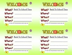 These are quick and easy cards that can be printed off and filled out to invite your new students to the first day of school or a welcome back to s...