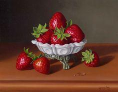 George A. Gonzalez (b.1966) —  Strawberries In Milk Glass (800x630)