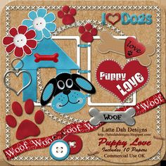 Puppy Love Digital Scrapbooking Kit by Latte Dah Designs on Etsy