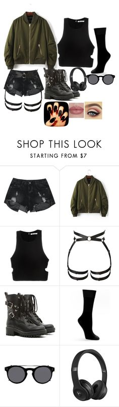 """""""Akiko"""" by mommysuga ❤ liked on Polyvore featuring WithChic, T By Alexander Wang, RED Valentino, HUE, Valentino and Beats by Dr. Dre"""