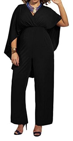 d30a964692a6 Kearia Women Chiffon V Neck High Waist Plus Size Long Jumpsuit Rompers With  Cloak Sleeves