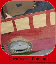Play & Learn Everyday: Cardboard Box Bus Craft - Using a regular cardboard box and turning it into a fun bright red London bus for kids to play in!