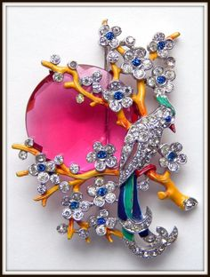 Vintage Trifari Brooch Bird in Branches Alfred Philippe | eBay #vintagejewelry rhinestone fab colours and design pin X