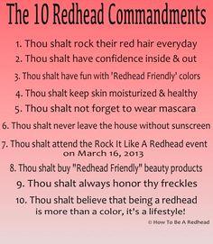 The 10 Redhead Commandments