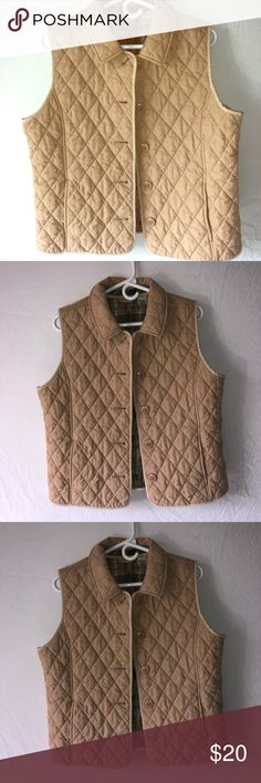 Tan L.L. Bean Quilted Riding Button Up Vest Super warm LL Bean tan, quilted riding vest with buttons. Size large. Inside is green plaid pattern. Made with thermore thermal insulation! Excellent used condition. L.L. Bean Jackets & Coats Vests
