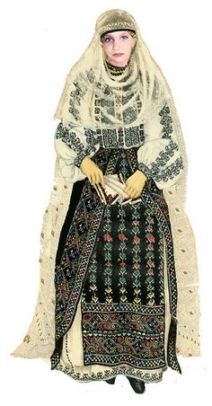 Traditional Romanian Folk Costume from Southern Romania, an area called Muscel, county of Arges.