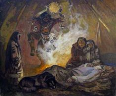 """Shamanic Witchcraft,"" P.Bondarenko, Ukraine, Oil on Canvas, 1978"