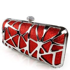 Wedding gift:Ever Pretty Rhinestones Hand Shoulder Clasp Party Clutch Wedding Evening Bag 03652, Red, One Size