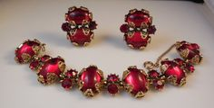 Vintage Hollycraft 1960s Ruby Red Cabochon by TheFoxyMomma on Etsy