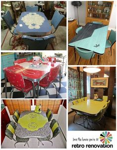 Vintage Dinette Sets, scroll down to see info on how to reupholster and clean the old sets.