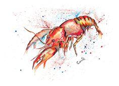 Crawfish Print by SplatterInkArt on Etsy