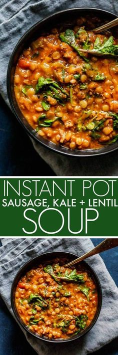 Instant Pot Lentil Soup with Sausage & Kale comes together quickly with the help of your electric pressure cooker. It's a hearty soup that's perfect for chilly days. #soup #lentilsoup #instantpot #pressurecooker #healthy via @platingspairing