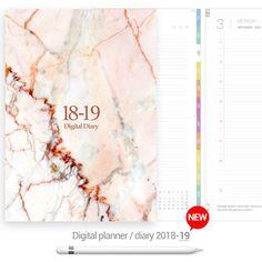 Pink marble cover Digital Planner - Goodplanr Digital Diary, Pink Marble, Bullet Journal, Cover, Planners, Slipcovers, Organizers