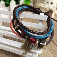 Charming Jewelry Ethnic Style Anime Products Unisex Alloy Bracelet With Multi-layered Rope Belt BL-0237