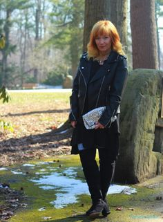 FASHION FAIRY DUST STYLE BLOG// Sharkbite Hem Dress, Moto Jacket, Sequin Clutch, Over The Knee Boots, Outfit Inspiration, Date Night Outfit, Black Outfit