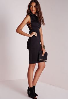 Missguided - High Neck Lace Up Side Bodycon Dress Black 34.00 (2)