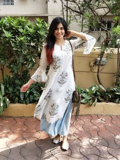 Adah Sharma spotted in our all new blue tulip set from the Neel Bagh collection ❤❤❤ Launching soon in Delhi at Yellow Blossom on May at… Ethnic Outfits, Indian Outfits, Trendy Outfits, Indian Attire, Indian Wear, Pakistani Dresses, Indian Dresses, Punjabi Dress, Punjabi Suits