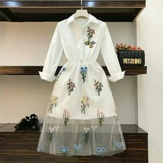 Cheap Dresses, Buy Directly from China Spring Summer Fashion Chic Dress Women Flower Bird Embroidery Perspective Gauze Stitching Dress Girls Lady Holiday Dresses Kpop Fashion Outfits, Fashion Mode, Look Fashion, Korean Fashion, Fashion Dresses, Fashion Design, Cute Casual Outfits, Stylish Outfits, Casual Dresses