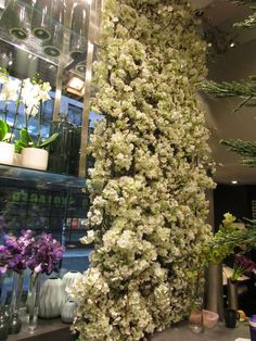 En hvit blomstervegg