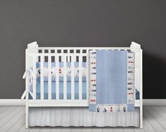Blue gingham quilt and cot bumper with lovely seaside illustrations along the edge and middle. Nautical Baby Bedding, Baby Boy Bedding, Nursery Bedding, Gingham Quilt, Gingham Fabric, Blue Gingham, Baby Room Themes, Nursery Themes, Nursery Ideas