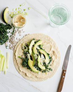 Protein Packed Kale, Avocado + Hummus Wrap   HelloGlow.co