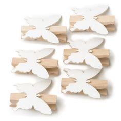 Hobbycraft Mini Wooden Pegs Butterflies x 6 White