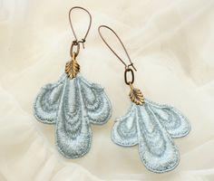 lace earrings TROIS blue ice tinaevarenee on Etsy