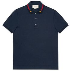 Gucci Cotton Polo With Web And Bee (3,120 CNY) ❤ liked on Polyvore featuring men's fashion, men's clothing, men's shirts, men's polos, men, cotton, ready to wear, tshirts & polos, mens collared shirts and men's cotton polo shirts