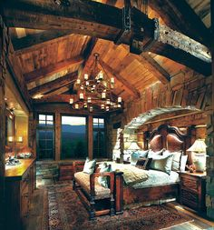 Dramatic rustic mountain lodge bedroom #rusticdecor #rusticchic #rusticstyle