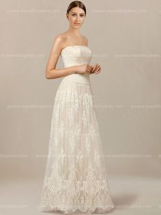 Strapless wedding dress features in intricate and delicate Lace fabric. The floor length A-line skirt drapes elegantly to the scalloped hem. Back is complete with fabric covered zipper closure.