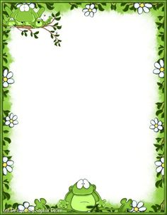 papel de carta Frog Theme Classroom, Boarders And Frames, Page Borders Design, School Frame, Frog Art, Cute Frogs, Borders For Paper, Paper Frames, Stationery Paper