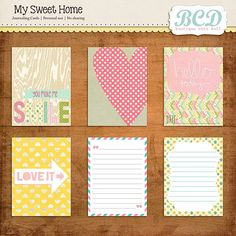 """Printable -- """"My Sweet Home"""" Journal and Filler Cards"""