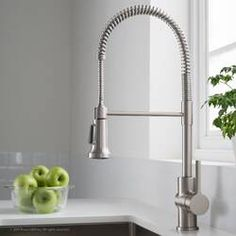 Kraus Britt Spot Free Stainless Pre-Rinse/Commercial Kitchen Faucet with Dual Function Sprayhead in all-Brite Finish, ** Visit the image link more details. (This is an affiliate link) Best Kitchen Faucets, Kitchen Faucet Reviews, Kitchen Fixtures, Bathroom Faucets, Commercial Faucets, Commercial Kitchen, Commercial Design, Black Kitchens, Cool Kitchens