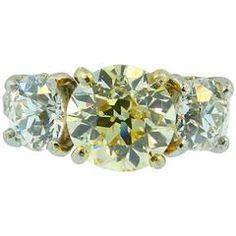 Hartz & Co GIA Cert Natural Fancy Yellow Antique Cut Diamond platinum Ring