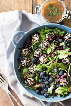 This Seeded Warm Goat Cheese Salad deserves a deliciousness award. A nutrient dense out of this world salad with bowl-licking deli tahini balsamic dressing!