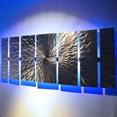 """Cosmic Energy"" Large 68""x24"" Abstract Metal Wall Art with LED Infused Color Changing Lighting  & Remote Control"