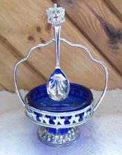 COBALT BLUE  QUEEN ANNE GLASS SUGAR DISH & SPOON .