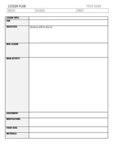 This Is A Editable Lesson Plan Template For An Individual Subject - History lesson plan template