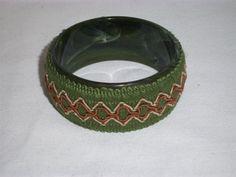 VINTAGE 1960 to 1970 LUCITE BRACELET/  Dark Avocado Green/ Macrame. $16.00, via Etsy.