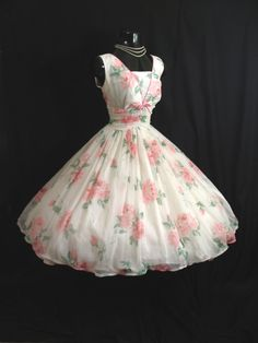 Vintage 1950's Bombshell PINK White Floral