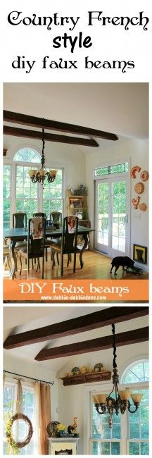 Love the easy to use lightweight faux beams in this kitchen makeover! Ceiling details.