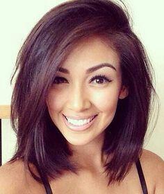Layered mid-length hair