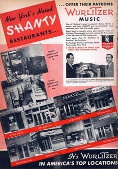 New York's own Shanty Restaurant chain, from the 1930s-40s.