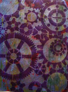 gelli print with gear stencil.  Can use design for inspiration, but different colours.