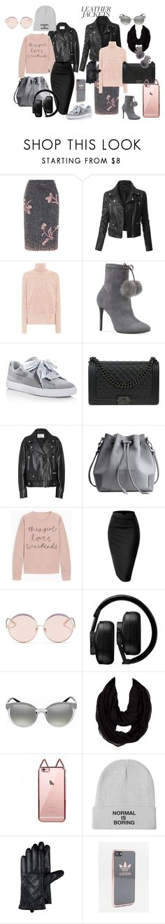 """Leather Jackets"" by phatblapuckat ❤ liked on Polyvore featuring Prada, LE3NO, Victoria Beckham, Michael Kors, Puma, Chanel, Acne Studios, N°21, Master & Dynamic and Versace"