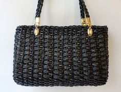 Vintage 1980s black lacquer wicker cane and gold tone handbag - pinned by pin4etsy.com