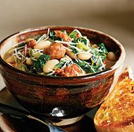 Spicy Sausage, Escarole & White Bean Stew Quick, Easy, and yummy.  Substitute kale for escarole