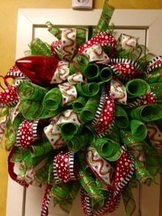 Large green spiral wreath on Etsy, $85.00