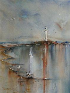"""*Watercolor - """"Lighthouse"""" by Joke Klootwijk"""